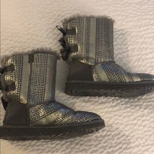 UGG boots with bows, sequence, and charms